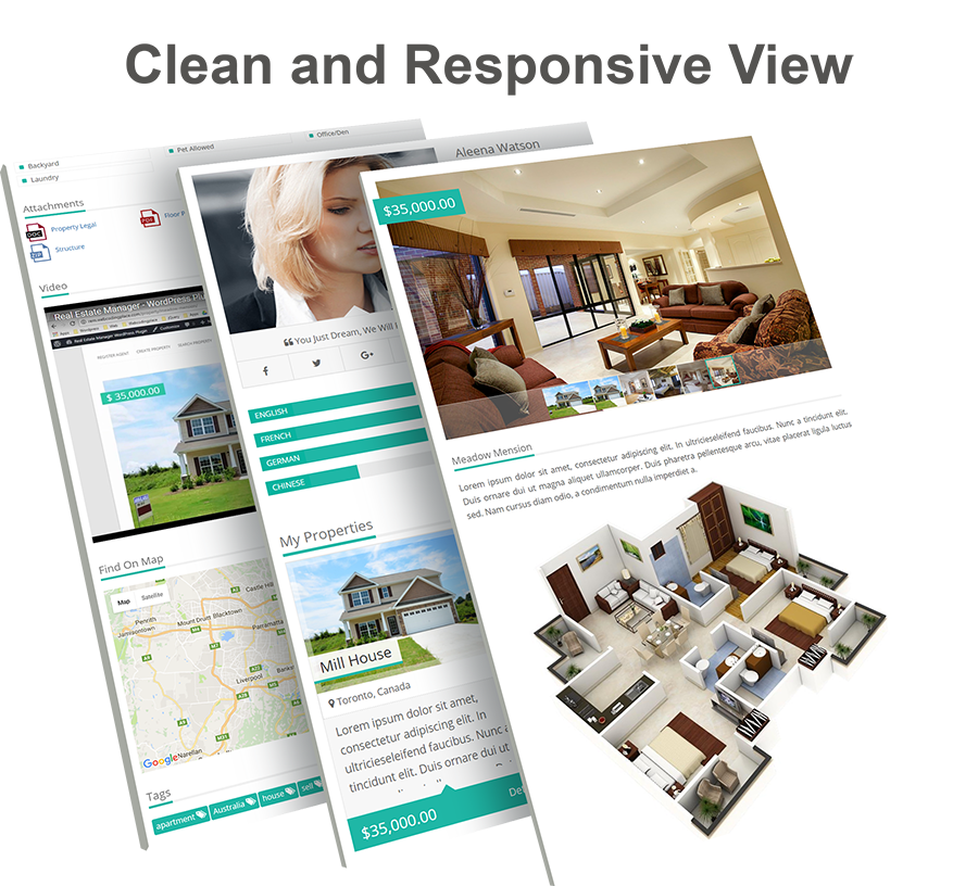 Real Estate Manager Pro (WordPress) Real Estate Manager Pro (WordPress) clean responsive view